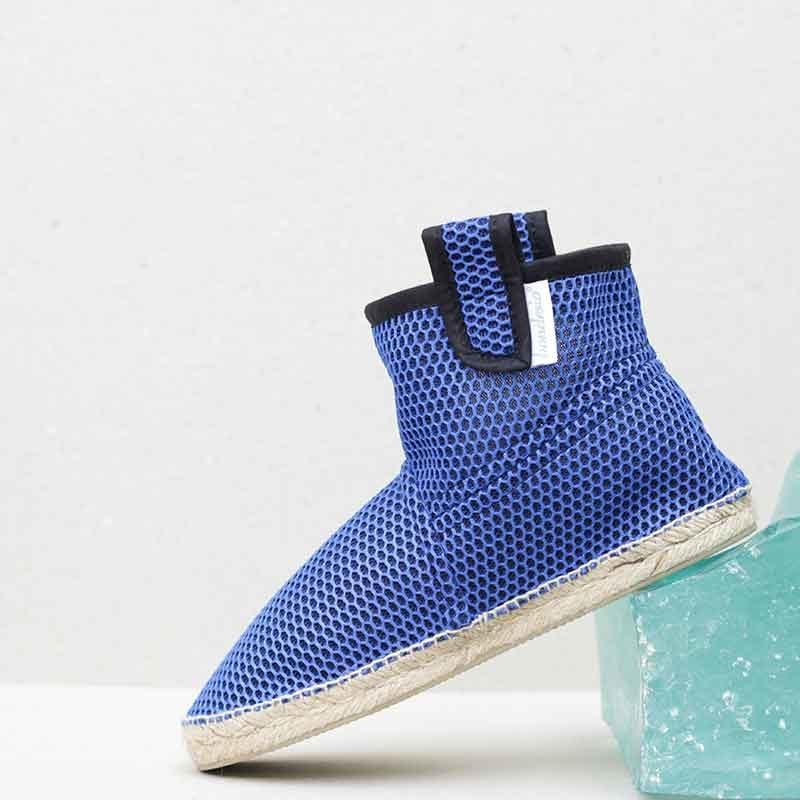 botas azules planas estilo alpargatas hecho a mano en taller bondesio