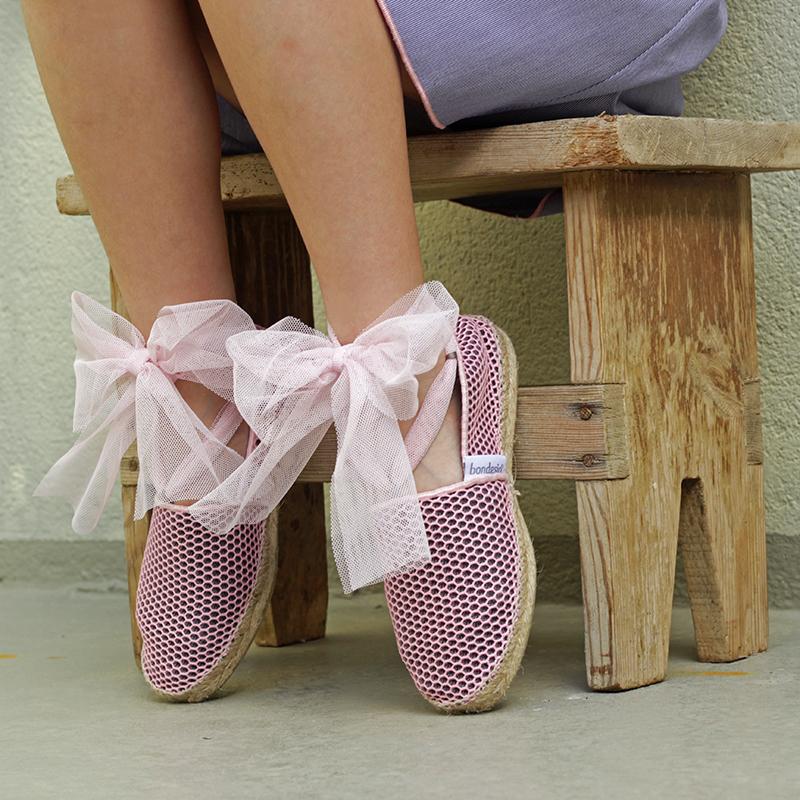 Alpargatas Brisa bailarina con lazada tul confeccionadas artesanalmente