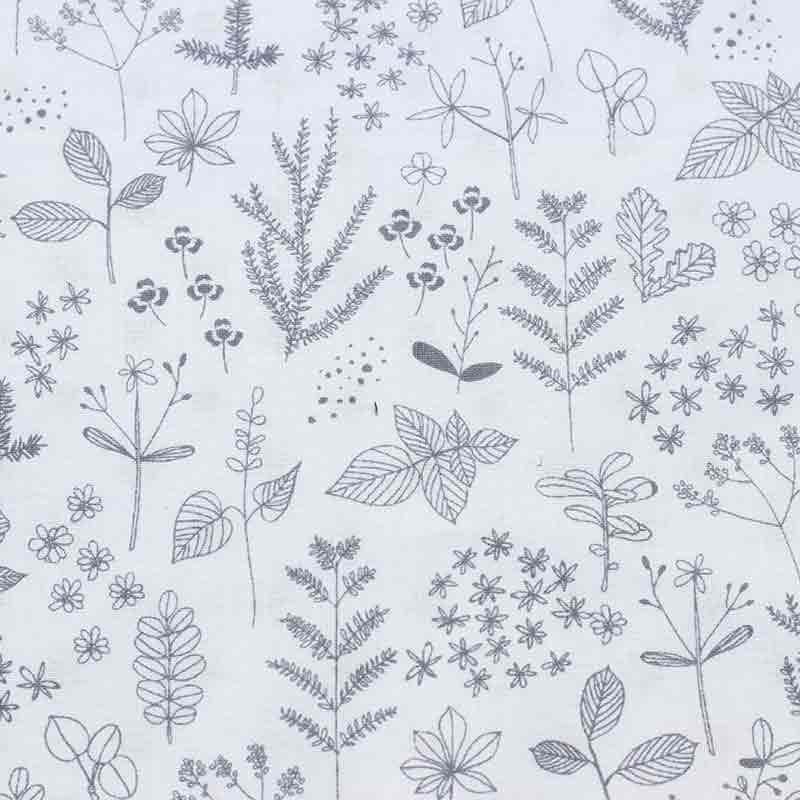 tejidos estampados con detalles de botánica