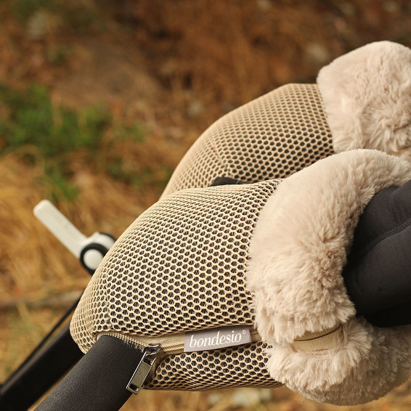 Guantes Brisa beige para carrito de bebe confeccionados por Bondesio