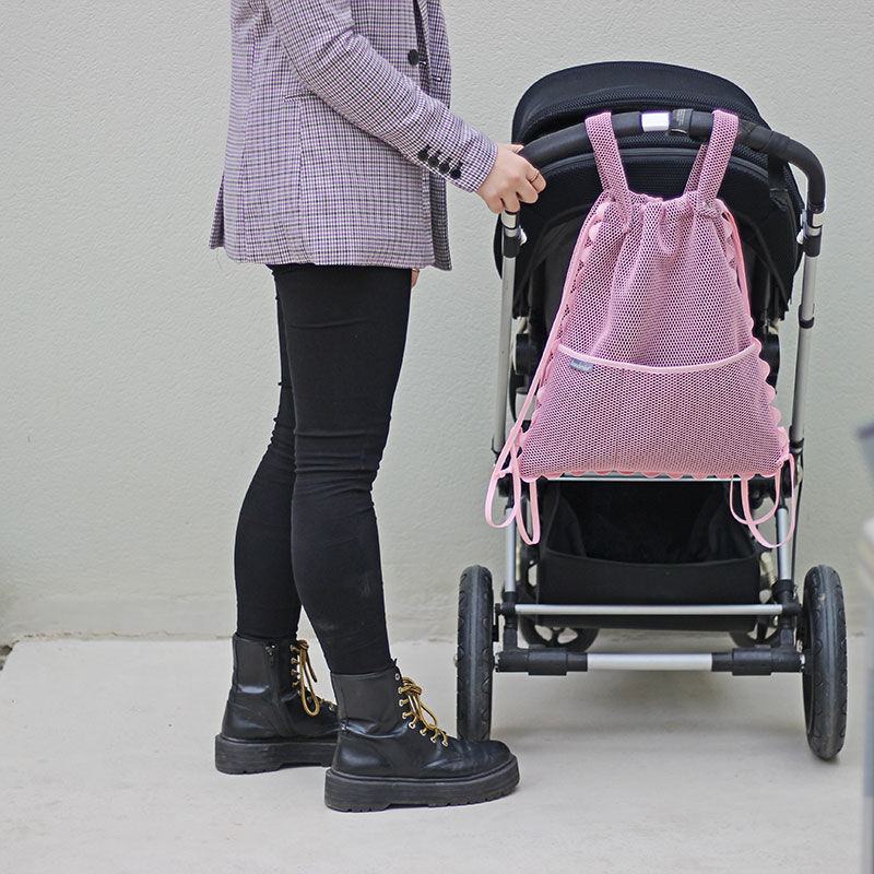 mochila rosa carro bebe