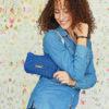 mini bolso azul lavable