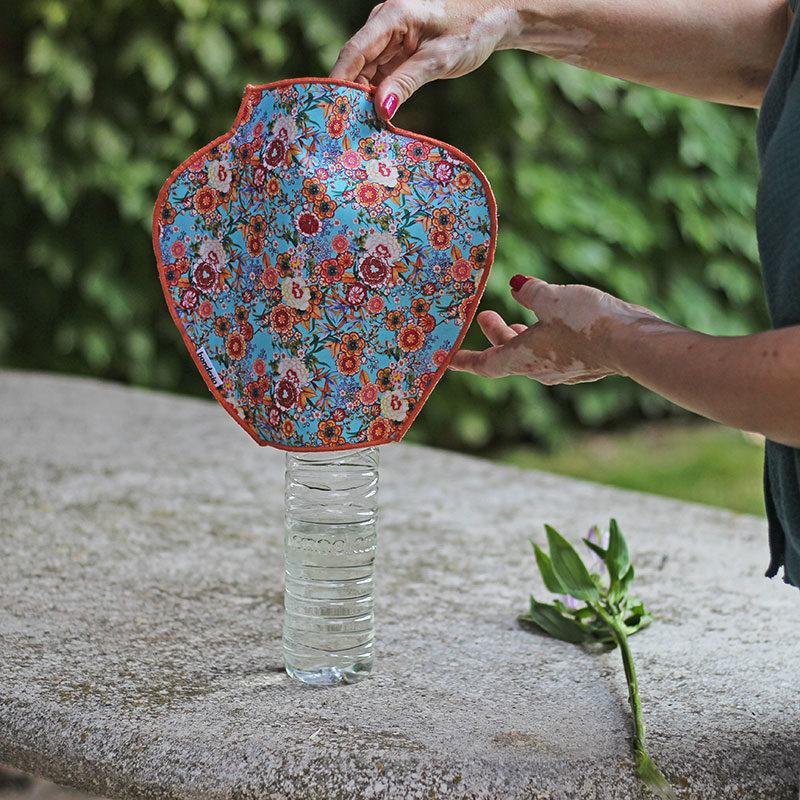 jarrón tela flores
