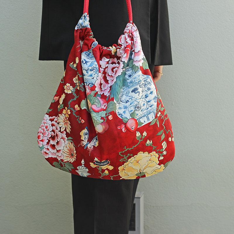 bolso tela flores rojo