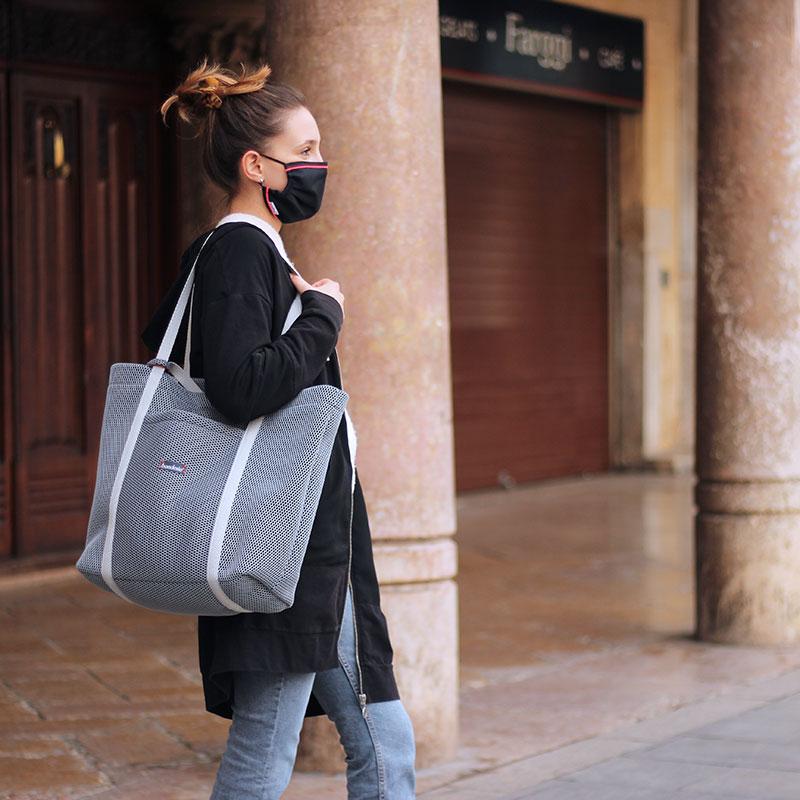 shopping bag gris