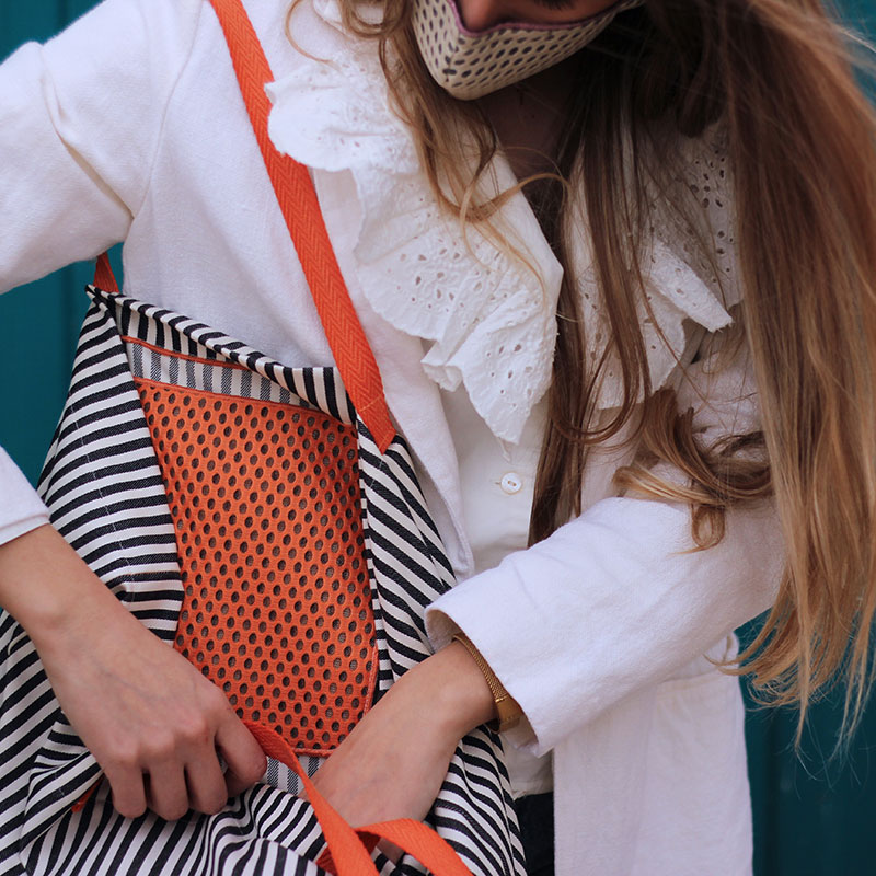 shopping bag rayas negras