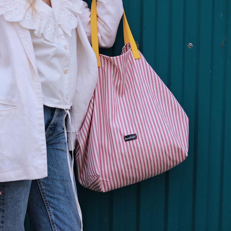 shopping bag rayas rosas