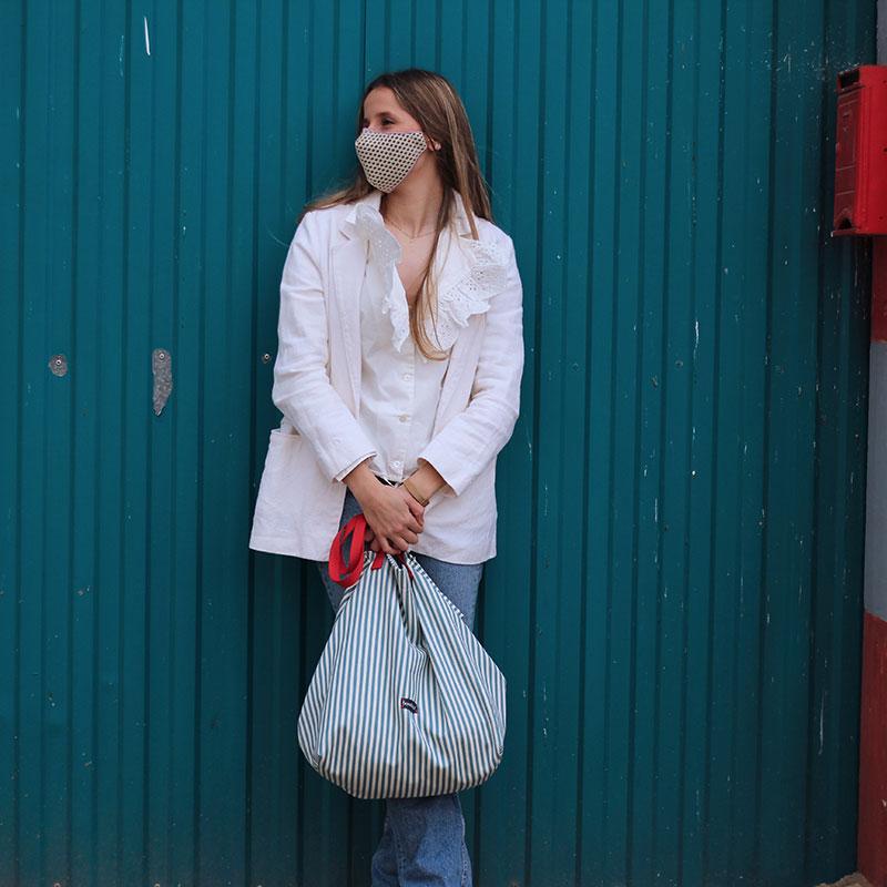 shopping bag rayas verdes